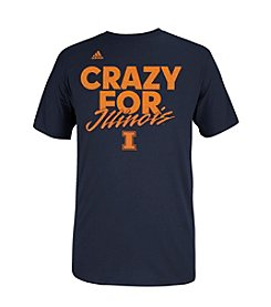 adidas® Men's Blue University of Illinois Short Sleeve 'Crazy for Illinois' Graphic Tee