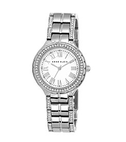 Anne Klein® Silvertone Link Bracelet Watch with Roman Numeral Dial