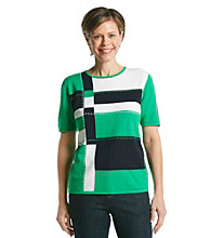Alfred Dunner® Petites' Greenwich Circle Colorblock Scoopneck Sweater