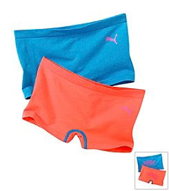 PUMA® Girls' 7-16 Blue/Orange Two-pk. Boy Shorts