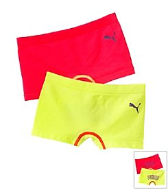 PUMA® Girls' 7-16 Pink/Yellow Two-pk. Boy Shorts