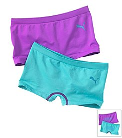 PUMA® Girls' 7-16 Turquoise/Purple Two-pk. Boy Shorts
