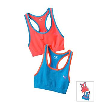 PUMA Blue/Orange 2-pk. Sports Bras Kid's plus size,  plus size fashion plus size appare