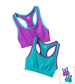 PUMA® 2-Pack Sports Bras - Turquoise Purple