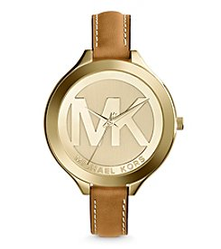 Michael Kors® Mid-Size Luggage Leather/Goldtone Stainless Steel Slim Runway Three-Hand Watch