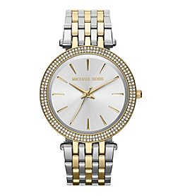 Michael Kors® Mid-Size Goldtone/Silvertone Stainless Steel Darci Three-Hand Glitz Watch