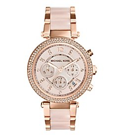 Michael Kors® Mid-Size Rose Goldtone/Stainless Steel Parker Three-Hand Glitz Watch