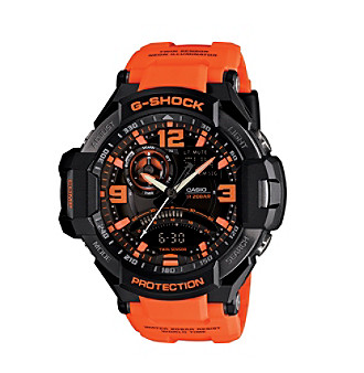 G-Shock Men's G-Aviation Ana-Digi Watch in Black with Orange Resin Band