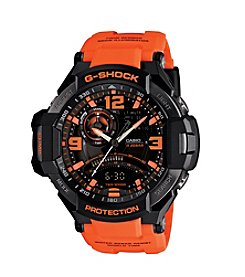 G-Shock G-Aviation Ana-Digi Watch in Black with Orange Resin Band