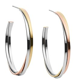 Michael Kors® Tri-Tone Three Stack Medium Whisper Hoop Earrings