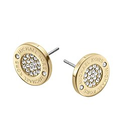 Michael Kors® Goldtone Logo with Clear Pave Center Stud Earrings