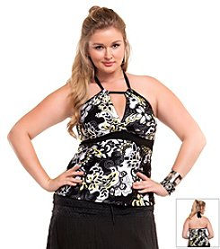 Becca Etc.® Plus Size Gold Coast Halterkini Top