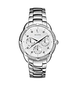 Bulova® Stainless Steel Women's Diamond Set Case Watch with Silver-White Dial