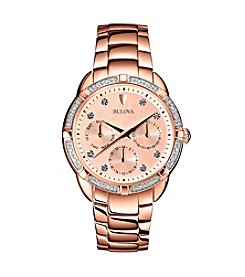 Bulova® Rose Gold Women's Diamond Set Case Watch with Rose Gold Dial