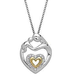 .10 ct. t.w. Diamond Mother Child Heart Pendant in Sterling Silver/14K Gold