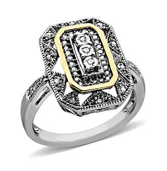 .08 ct. t.w. Diamond Vintage Design Ring in Sterling Silver/14K Gold