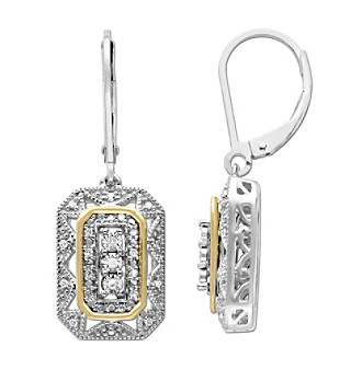 .08 ct. t.w. Diamond Vintage Design Earrings in Sterling Silver/14K Gold plus size,  plus size fashion plus size appare