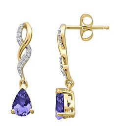 Tanzanite & Diamond Earrings in 10K Yellow Gold