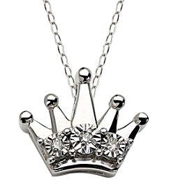 Di Aura Mini Crown Pendant in Sterling Silver