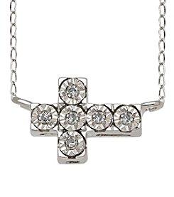 Di Aura Sideways Cross Pendant in Sterling Silver