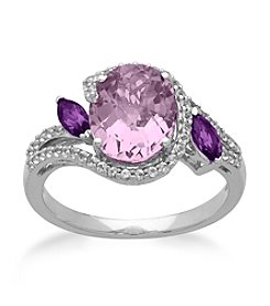 Amethyst & White Topaz Ring in Sterling Silver