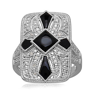 Onyx & .05 ct. t.w. Diamond Vintage Ring in Sterling Silver plus size,  plus size fashion plus size appare