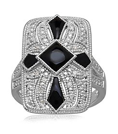 Onyx & .05 ct. t.w. Diamond Vintage Ring in Sterling Silver