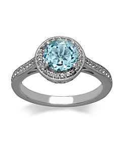 Blue & White Topaz Ring in Sterling Silver
