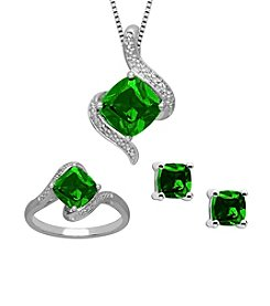 Created Emerald & Created White Sapphire Ring, Earrings & Pendant Set in Sterling Silver