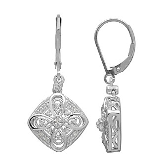 .01 Diamond Vintage Earrings in Sterling Silver plus size,  plus size fashion plus size appare
