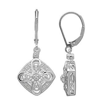 .01 Diamond Vintage Earrings in Sterling Silver