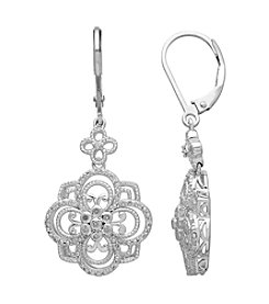 .20 ct. t.w. Diamond Floral Earrings in Sterling Silver