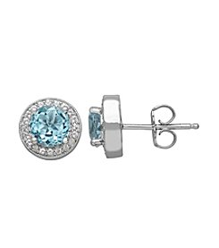 Blue & White Topaz Earrings in Sterling Silver
