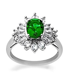 Created Emerald & Created White Sapphire Ring in Sterling Silver