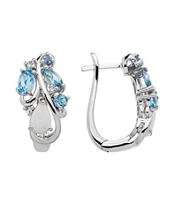 Blue Topaz & Created Opal Earrings in Sterling Silver