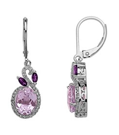 Amethyst & White Topaz Earrings in Sterling Silver