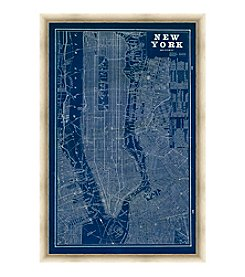 Greenleaf Art New York Blue Map Framed Canvas Art
