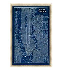 Greenleaf Art New York Blue Map Framed Canvas Art