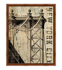 Greenleaf Art New York City Bridge Framed Canvas Art