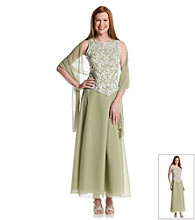 J Kara® Beaded Bodice Long Lace Gown