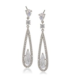 Carolee® Silvertone The Looking Glass Long Linear Pierced Earrings