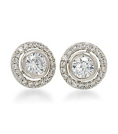 Carolee® Silvertone The Looking Glass Round Button Pierced Earrings