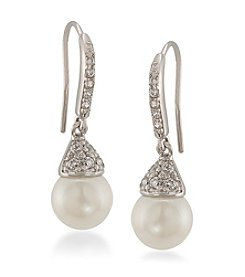 Carolee® Silvertone The Looking Glass Pearl Drop Pierced Earrings