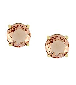 Jessica Simpson Light Peach/Antique Goldtone Stone Stud Earrings