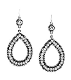 Jessica Simpson Crystal/Light Antique Light Rhodium Cab Oval Drop Earrings