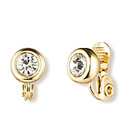 Anne Klein® Goldtone Crystal Clip Stud Earrings