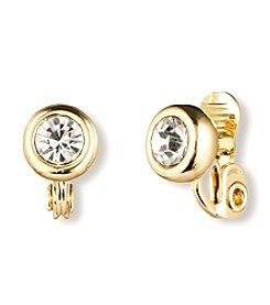 Anne Klein® Goldtone Crystal Clip Stud Earrings