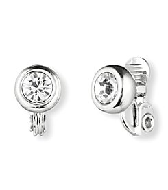 Anne Klein® Silvertone Crystal Clip Stud Earrings