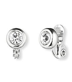Anne Klein® Silvertone Crystal Clip Stud Earrings