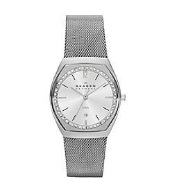Skagen Denmark Women's Watch in Stainless Steel Mesh Bracelet with Clear Stones